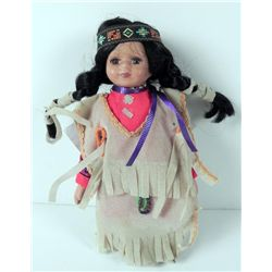 Brave Wolf Bisque Indian Girl Doll by Barbara Lee w/COA