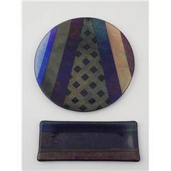 2 Diff Artist Signed Art Glass Pcs: Dish Plate & Tray