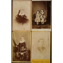 4 Antique CDV Photos Children -England w/Studio Names