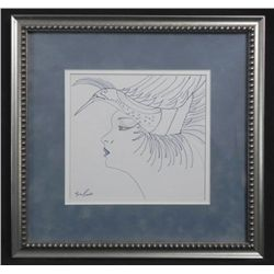 Nora Caiseno Original Drawing Lady in Hat Fashion-Framd