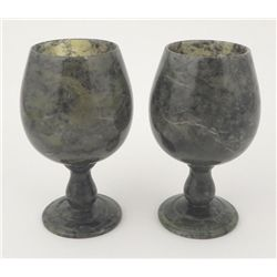 2 Small Green Marble Apertif Cordial Glasses