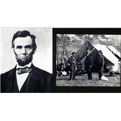 2 Photos Civil War Abraham Lincoln, Ulysses S. Grant