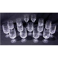 15 Pc Stylish Crystal Wine / Water Glasses Set