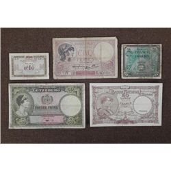 NAZI OCCUPIED FRENCH CURRENCY- & 4 PER-WAR NOTES