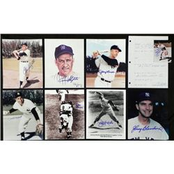 9) Signed Yankees Photos Print Paper- Slaughter Rizzuto