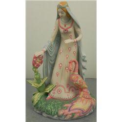 Fantasy Lady w/ Pink Peacock Bird & Bisque Figurine