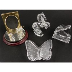 4 Pc Crystal Figurines Horse Butterfly Piano Waterford