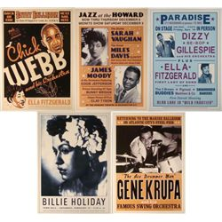 5 Jazz Concert Repro Posters Fitzgerald Holiday Vaughan