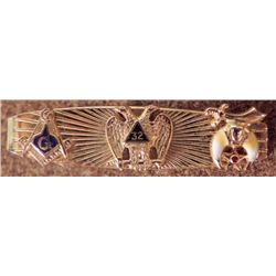 VINTAGE GOLD 32 DEGREE MASONIC TIE CLASP