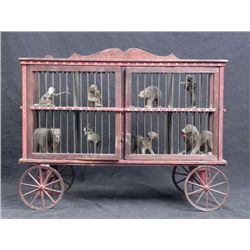 Vintage Wooden Toy Double Decker Circus Car w/8 Animals