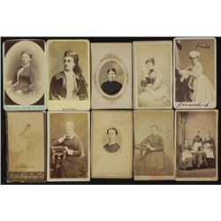 10 Antique CDV Portrait Photos Women, Actress, Servants