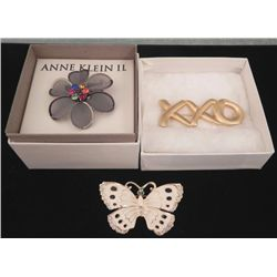 3 Pc Costume Jewelry Brooches Butterfly, Flower, XXO