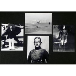 4 Photos Famous Pilots WWII Red Baron, Wright , Rommel