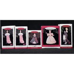 5 Hallmark Holiday Keepsake Barbie Ornaments MIB
