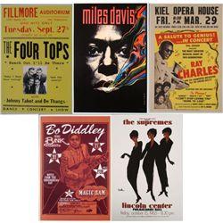 5 Repro Jazz Posters- Ray Charles Miles Davis Supremes