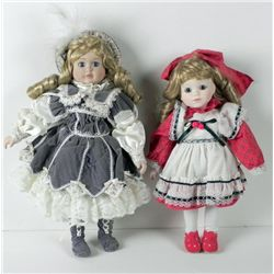 2 Bisque Girl Dolls in Old Fashion Dresses 14 & 16 In.