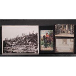 4 Vintage Photos & Postcards Mining, Oil Field, Cowboy