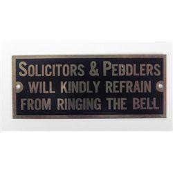 Vintage Metal Door Sign Plaque Solicitors & Peddlers