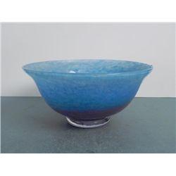 Blue & Pink Ocean Surf Art Glass Bowl
