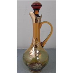 Hand Painted Art Glass Decanter Romania