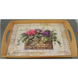 Annie LaPoint Wood & Tile Flower Tray Christian Art