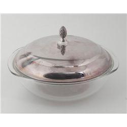Pyrex Glass 3 QT Bowl w/ Silverplated Lid