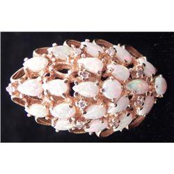 18K Gold Ring w/ Teardrop Opals & Diamonds