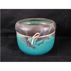 Artist Signed Hand Painted Turquoise Pottery Bowl