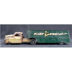 "Buddy L Vintage Fast Frieght 21"" Steel Trailer Truck"