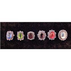 6 Sterling Rings Sapphire Emerald Garnet Ruby Moonstone