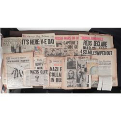 LARGE COLLECTION OF WWII END NEWSPAPERS-HISTORIC ORIG.