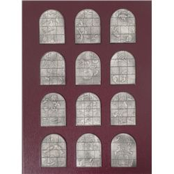 Chagall Silver Ingots Jerusalem Windows Mosaic Set 25oz