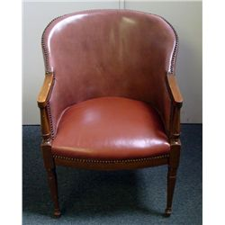 Vintage Faux Leather Studded English Regency Chair