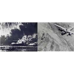 2 WWII Photos Bombing Rome Pearl Harbor B-25 USS