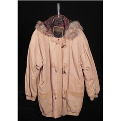 Express Ladies Leather Winter Coat w/ Faux Fur Collar