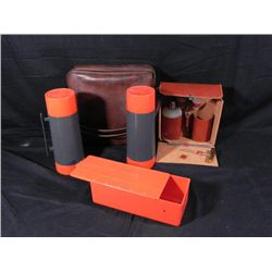 Vintage Travel Drink Mixer Set in Leather Case, Thermos