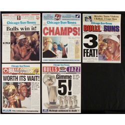 5 Chicago Bulls Championship Newspaper Cover Reprints