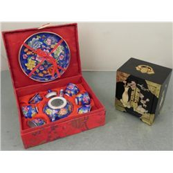 Chinese Tea Set in Gift Box, and Laquer Jewelry Chest