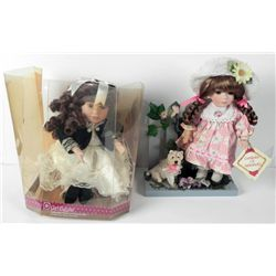 2 Collectors Choice Bisque Girl Dolls In Box- 1 Musical