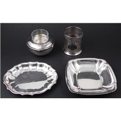 4 Silver Plated Serving Pieces Plates, Ketchup, Candle
