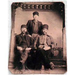 Antique Tintype Photo 3 Men Worker Hats 1/6 Plate