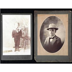 2 Antique Cabinet Card Photos Boys in Uniform, Ranger