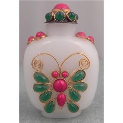White Glass Beaded Snuff Bottle w/ Butterfly & Flower