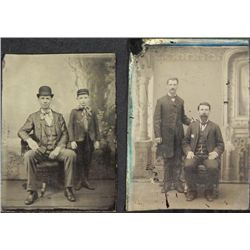 2 Antique Tintype Photographs Father & Son