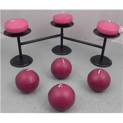 3 Pc Adjustable Black Metal Candle Holder