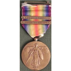 WWI U.S. VICTORY MEDAL WITH 2 BARS MEUSE-ARGONNE PIN B
