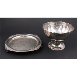 2 Silver Plated Serving Pcs Wallace Bowl, B & G Plate
