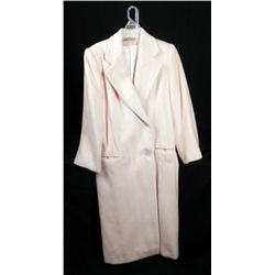 Perry Ellis Ladies Long Cream Color Wool Coat Sz 10