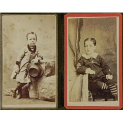 2 Antique CDV Photographs Children Boys, Sailor Outfit