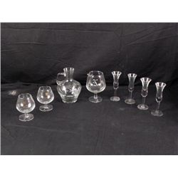 8) Crystal Snifters Wine Pitcher Cordial Glasses